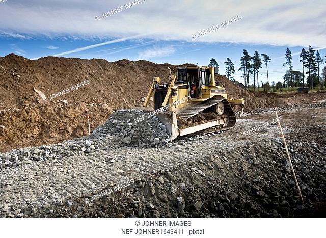 View of bulldozer working