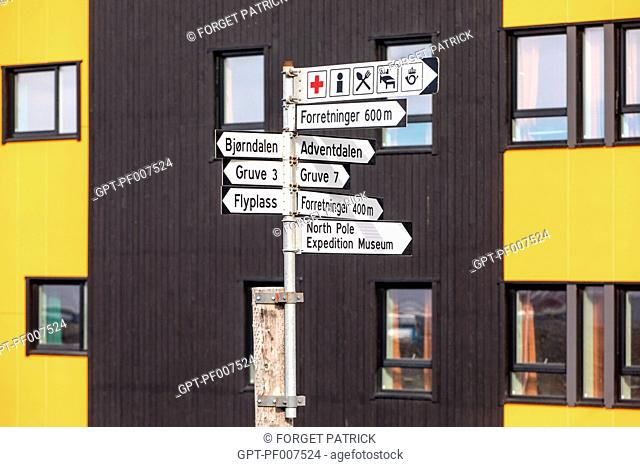 ROAD SIGN, CITY OF LONGYEARBYEN, THE NORTHERNMOST CITY ON EARTH, SPITZBERG, SVALBARD, ARCTIC OCEAN, NORWAY