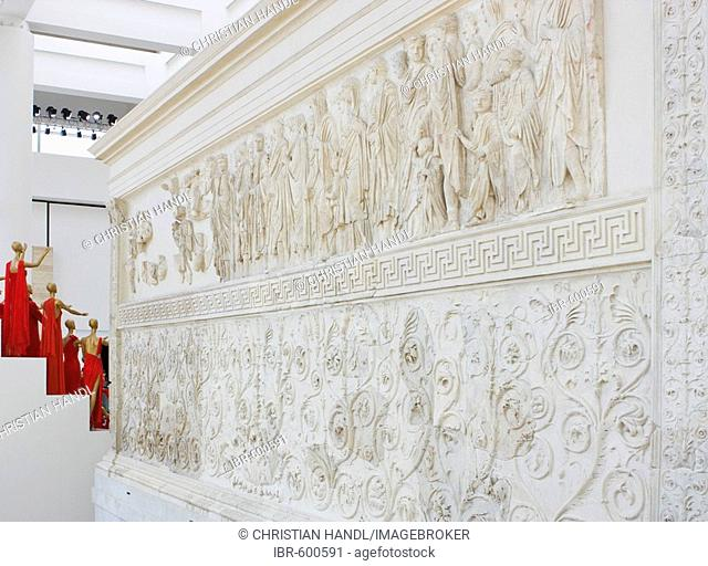 Relief depicting the Emperor Augustus and his family making an offering on the Ara Pacis Augustae altar, Rome, Italy, Europe