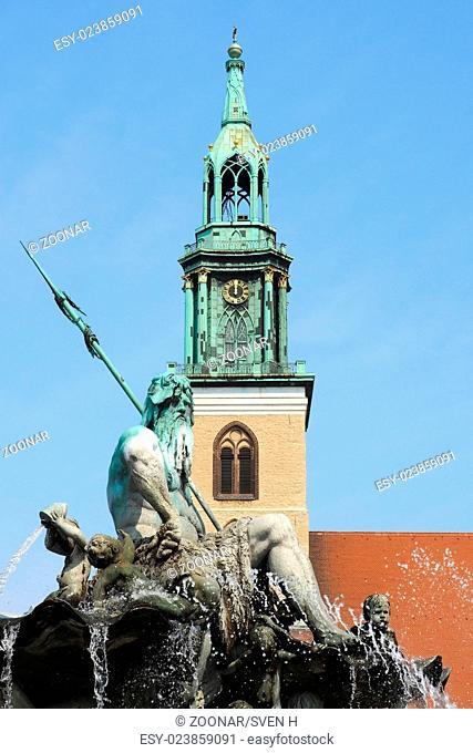 Berlin - Neptune Fountain and St. Mary's Church
