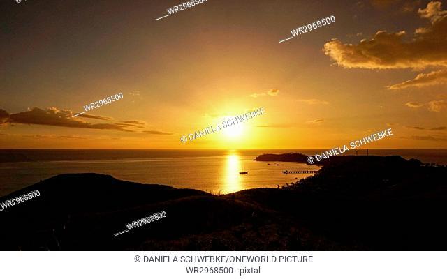 Fiji, Mana Island, sunset over Mana Island