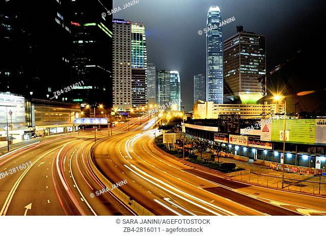 Night traffic at Causeway Bay and Financial Central District, Hong Kong Island, Hong Kong, China, East Asia