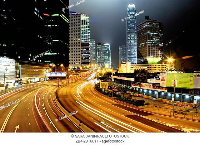 Night traffic at Causeway Bay and Financial Central District, Hong Kong Island, Hong Kong, China, East Asia