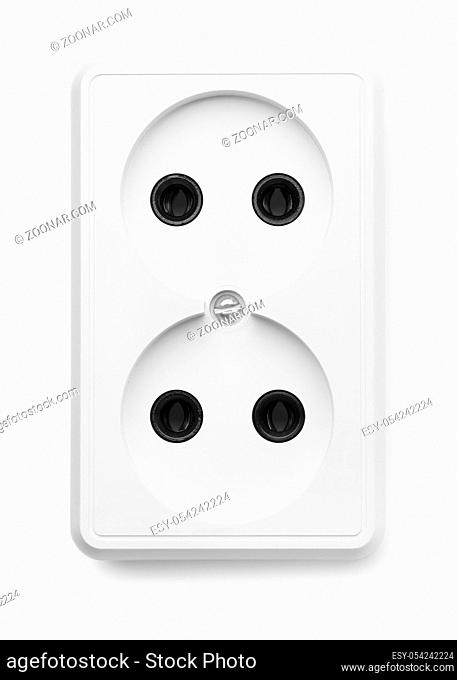 European double socket wall outlet isolated on white