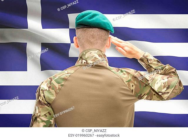 National military forces with flag on background conceptual series - Greece