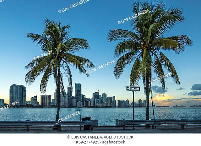Sunrise at Biscayne Bay. Miami Florida. USA