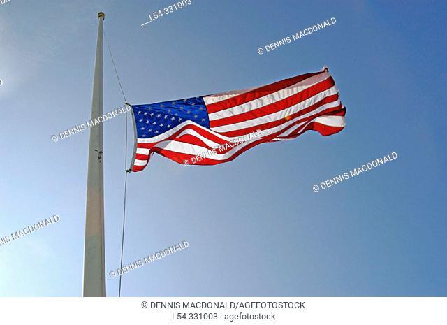 US flag flysat half mast