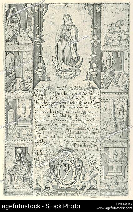 Indulgence for donation of alms towards the building of a Church to the Virgin of Guadalupe (modern facsimile impression)