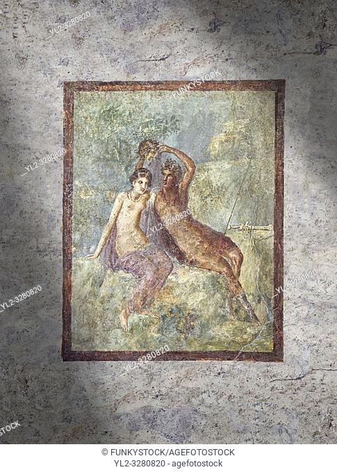 Roman Nero Period fresco wall painting of Perseus and Andromeda, Naples National Archaeological Museum, from a house in the Insula Occidentalis at Pompeii