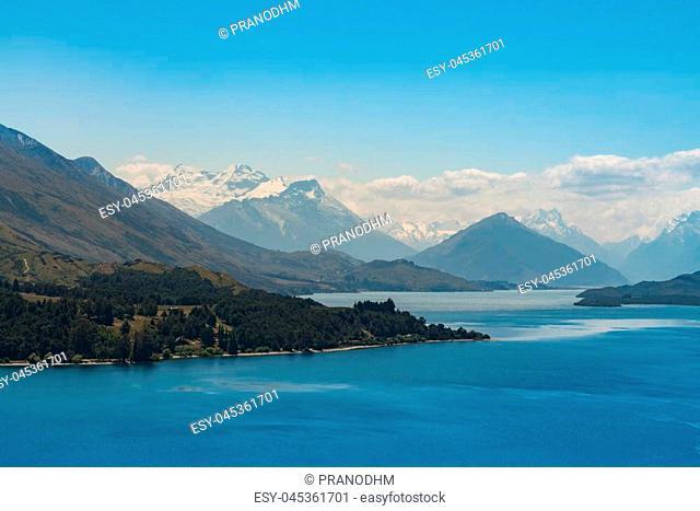 Tekapo Lake with Mt.Cook background, New Zealand natural landscape background