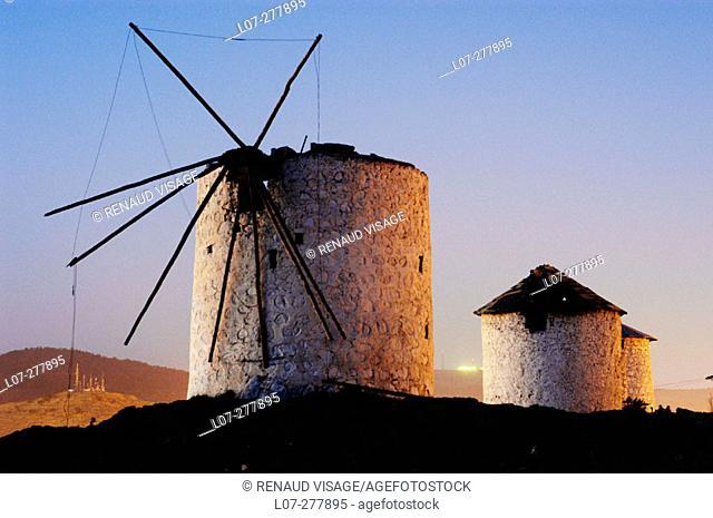 Ruins of windmills above Bodrum. Turkey