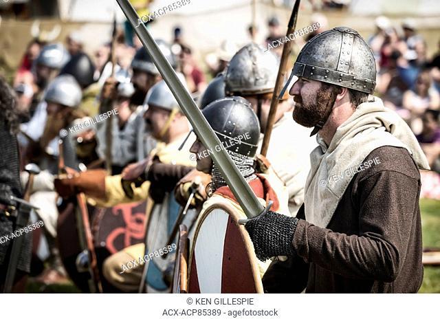 Vikings in battle re-enactment at the Icelandic Festival of Manitoba, Gimli, Manitoba, Canada