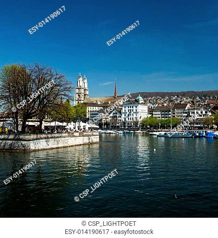 Beautiful view of Zurich and river