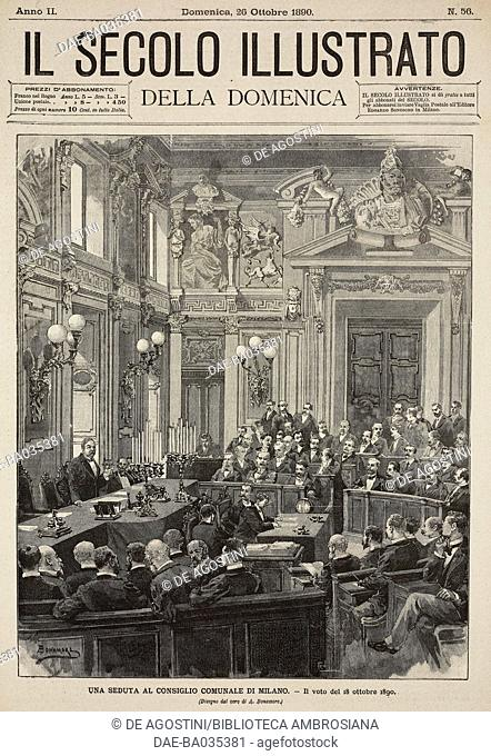 Session of Milan City Council, Italy, October 18, 1890, drawing by A Bonamore, illustration from Il Secolo Illustrato della Domenica, Year II, No 56, October 26