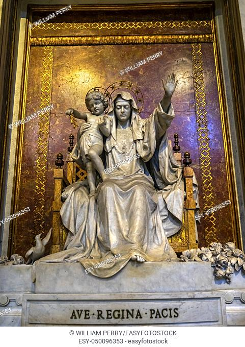 Hail Peace Queen Mary Statue Basilica Santa Maria Maggiore Rome Italy. One of 4 Papal basilicas, built 422-432, built in honor of Virgin Mary