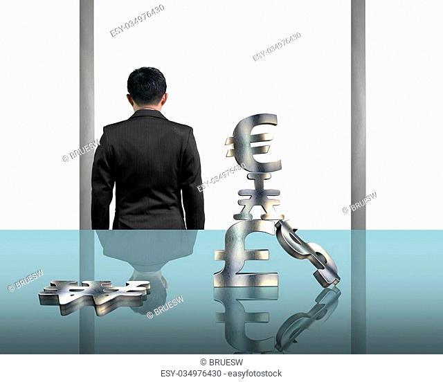 Rear view businessman gazing outside with stacking money symbols