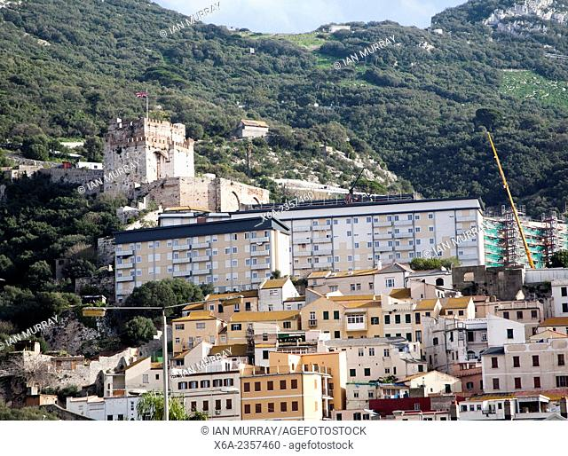 View of the Moorish castle, housing and the Rock of Gibraltar, British overseas territory in southern Europe