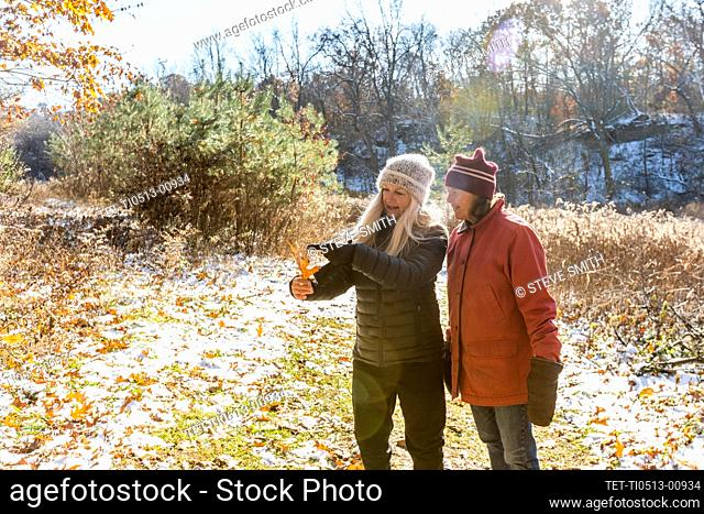 Women looking at autumn leaf