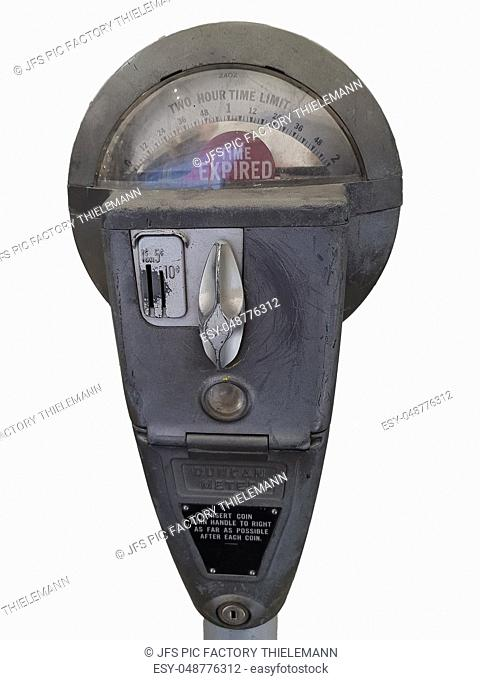 Retro parking meter with time isolated on white background