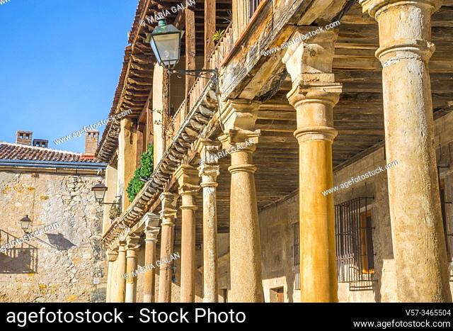 Facade of house. Plaza Mayor, Pedraza, Segovia province, Castilla Leon, Spain