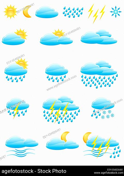 icons of weather vector illustration isolated on white background
