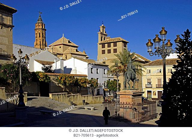 'Coso Viejo' Plaza, at Antequera.  Tower of San Sebastian church and Convent of the Encarnacion. Malaga, Andalusie, Spain