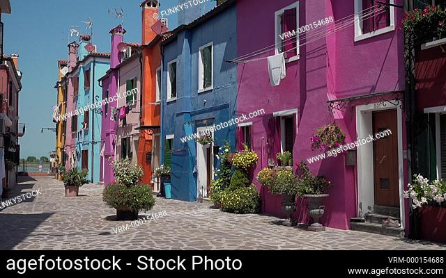 The traditional colourful houses of Burano Island, Venice Lagoon, Italy