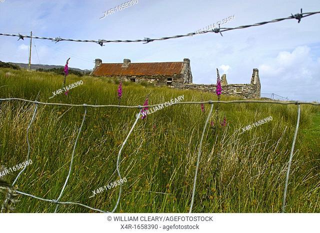 A deserted farmhouse on Achill Island, County Mayo, Ireland