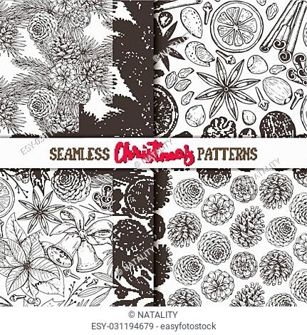 Set of four seamless patterns with pine cones, Christmas spices and citrus fruit. Hand drawn sketch vector illustrations