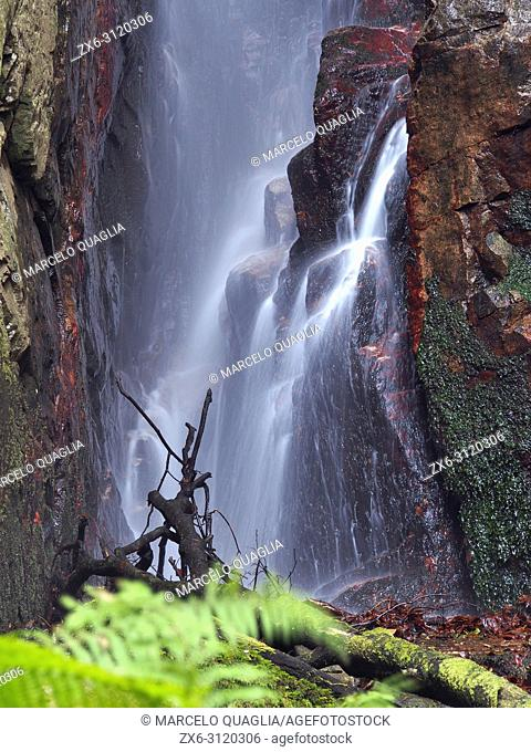 Detail of Sot del Infern waterfall. Arbucies countryside. Montseny Natural Park. Barcelona province, Catalonia, Spain
