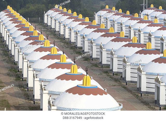 China, Inner Mongolia, Hebei Province, Zhangjiakou, Bashang Grassland, Hotel with yurts