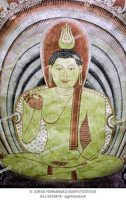 Painting of Budha at Dambulla caves. Sri Lanka