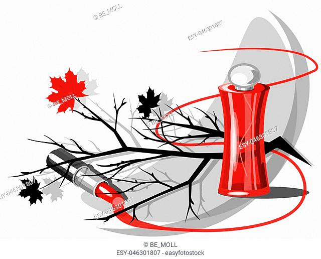 Beautiful perfume bottle with tree branches. Beautiful and fashion background. Template Vector