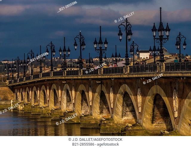 "France. Grande Aquitaine. Gironde. ""Pont de pierre"" bridge aver the Garonne river, at Bordeaux"