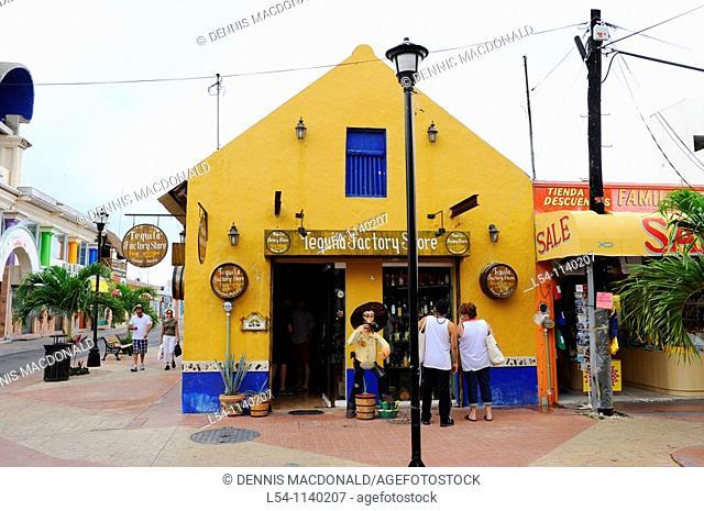 Colorful Tequila Shop near Caribbean Cruise Ship Cozumel Mexico