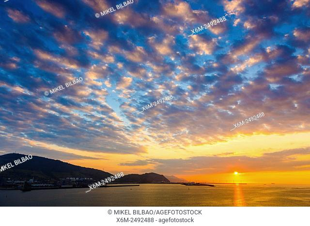 Bilbao harbour at sunset. Biscay, Spain, Europe