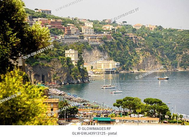 Town at a hillside, Marina Grande, Capri, Sorrento, Sorrentine Peninsula, Naples Province, Campania, Italy