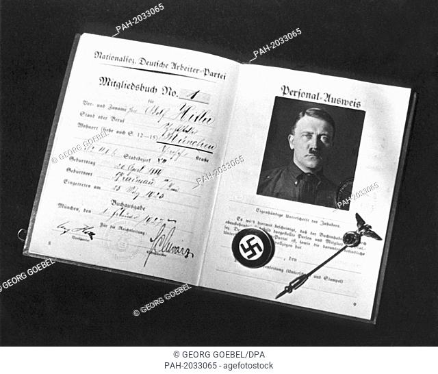The membership card of the National Socialist Workers' Party - NSDAP - with the entry no. 1. Page from the personal identity card with passport photo of Adolf...