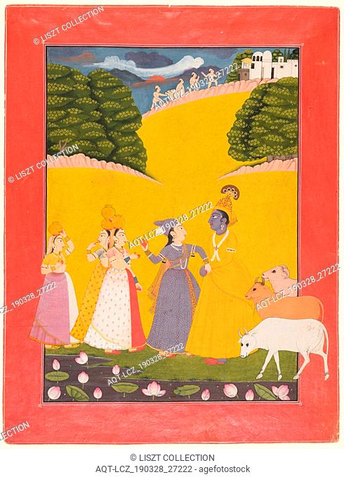 Taking of the Toll, Dana-lila, c. 1760. Northern India, Himachal Pradesh, Pahari Kingdom, probably Chamba. Opaque watercolor and gold on paper; page: 26 x 20 cm...