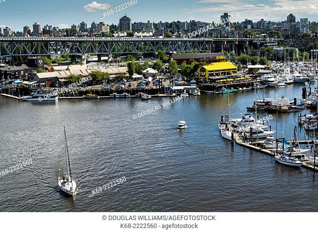 Boat in False Creek, Vancouver, BC, Canada