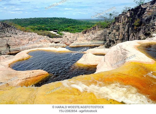 Parque Nacional de Chapada Diamantina, Lencois, Bahia, Brazil: Piscinas do Rocandor, the famous cascading natural pools of Rio Rocandor