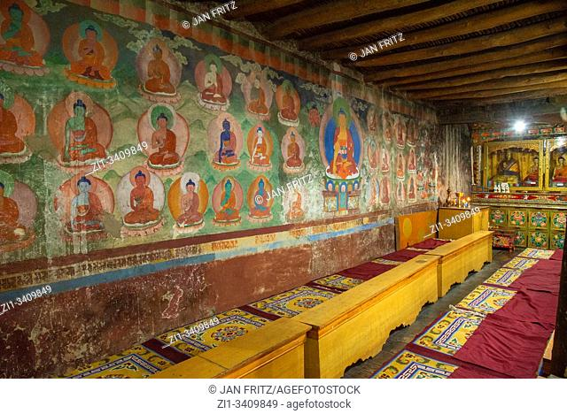 interior with murals at Thiksey monastery in Ladakh, India