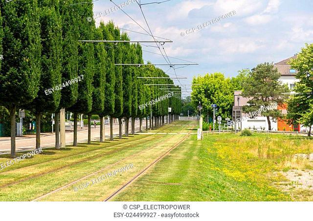 Tram tracks in Strasbourg - Alsace, France