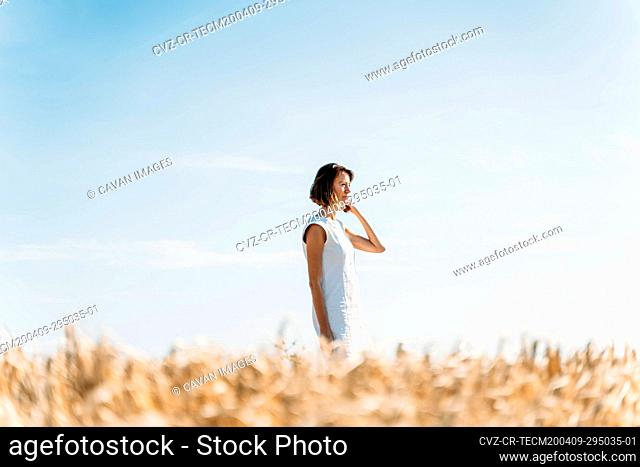 portrait of a caucasian woman in the country during the summer