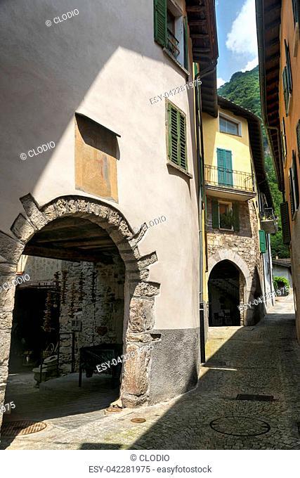 Typical street of Melano (Ticino, Switzerland), along the Lake of Lugano (Ceresio)