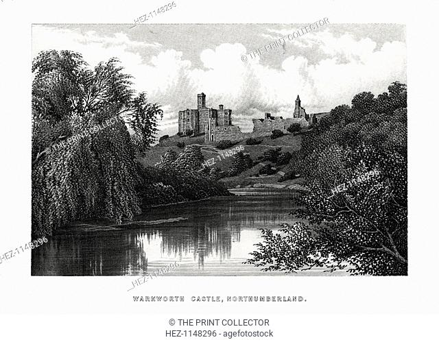 Warkworth Castle, Northumberland, 1896. A castle was probably built at Warkworth in the 12th century. Warkworth was the home of the Percy family