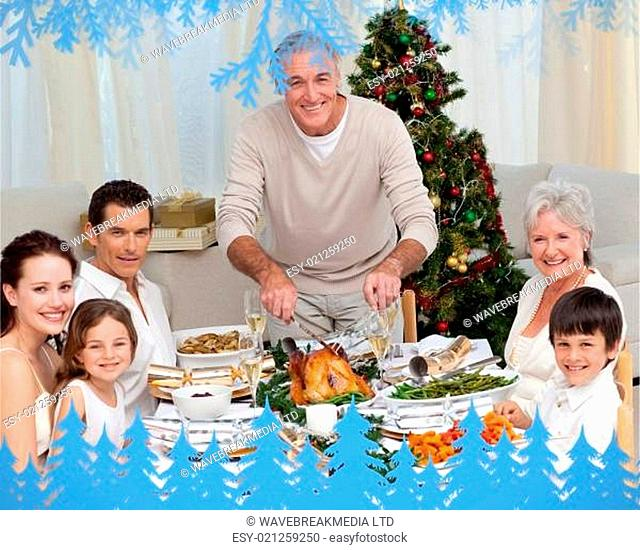 Composite image of grandfather cutting turkey for christmas dinner