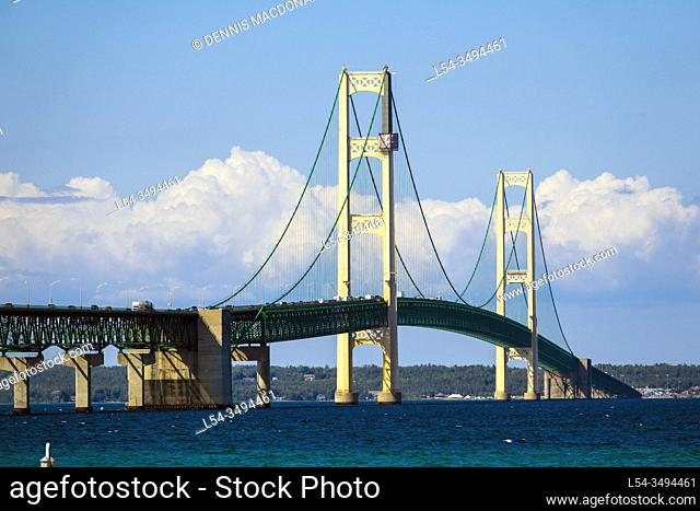 Mackinaw Bridge connecting michigan upper and lower peninsula between Mackinaw City and St. Ignace Michigan