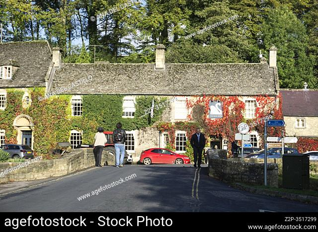 Bibury is a village and civil parish in Gloucestershire, England on October 13, 2019. The Swam hotel