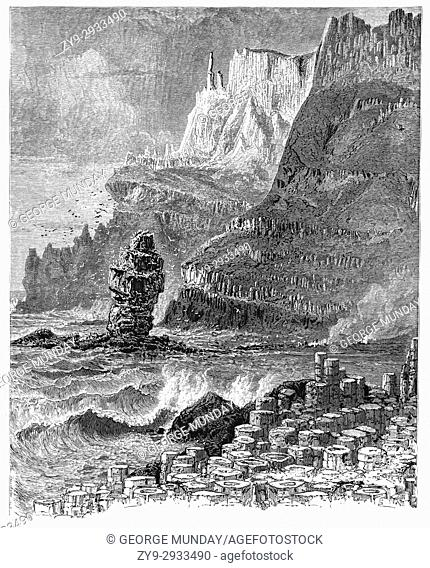 1870: 1870: The Giant's Causeway, an area of about 40,000 interlocking basalt columns, the result of an ancient volcanic eruption